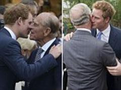 Chelsea Flower Show 2013: Lovable Harry greets Prince Philip, Prince Charles and cousin Beatrice with kisses