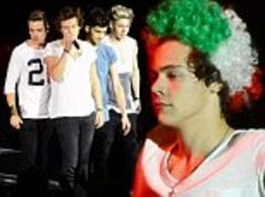 Harry Styles covers his famous locks with a curly Italian flag wig as One Direction perform in Verona