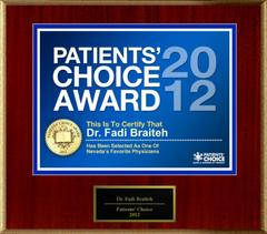 Dr. Braiteh of Las Vegas, NV has been named a Patients' Choice Award Winner for 2012